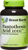 Great Earth Pantothenic Acid 1000 mg 90 tabletter