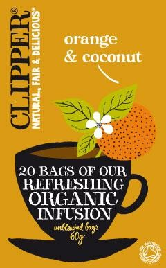 Clipper Orange & Coconut Refreshing Infusion EKO 20 tepåsar