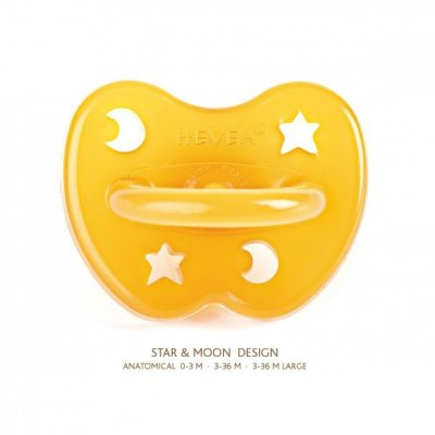 Hevea STAR & MOON NATURAL RUBBER PACIFIER · ANATOMICAL TEAT 3-36 M